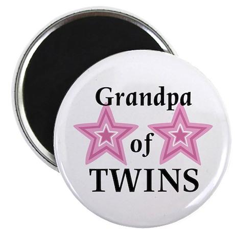 "Grandpa of Twins (Girls) 2.25"" Magnet (100 pack)"
