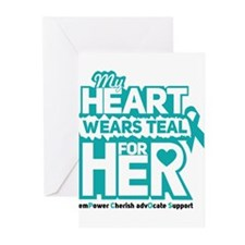 My heart wears teal for her - Teal Black Greeting