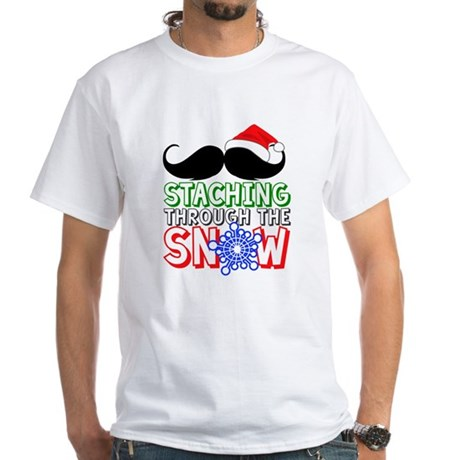 Staching Through The Snow Holiday White T-Shirt