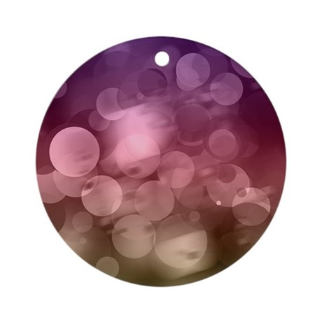 purple red bokeh pattern Round Ornament