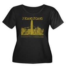 HongKong Women's Plus Size Dark Scoop Neck T-Shirt