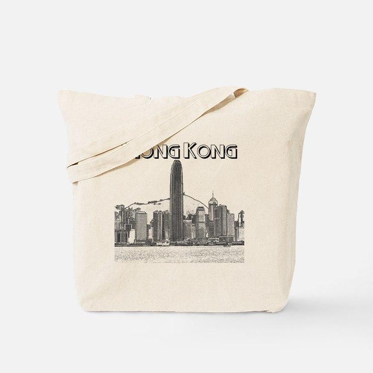 HongKong_10x10_v1_Skyline_Central_Black Tote Bag