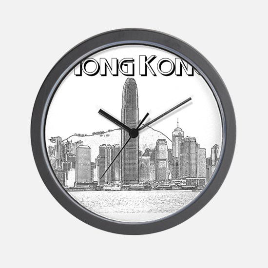 HongKong_10x10_v1_Skyline_Central_Black Wall Clock