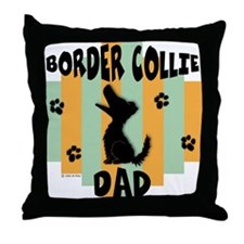 Border Collie Dad Throw Pillow
