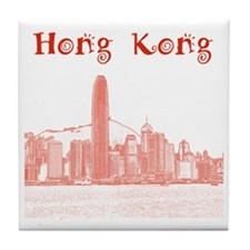 HongKong_12X12_Skyline_Central_Red Tile Coaster