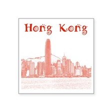 "HongKong_12X12_Skyline_Cent Square Sticker 3"" x 3"""