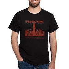 HongKong_10x10_v1_Skyline_Central_Red T-Shirt