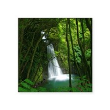 """Waterfall in Azores Square Sticker 3"""" x 3"""""""