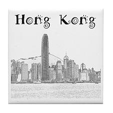 HongKong_12X12_Skyline_Central_Black Tile Coaster