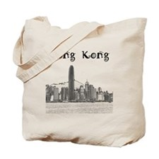 HongKong_12X12_Skyline_Central_Black Tote Bag