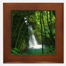 Waterfall in Azores Framed Tile