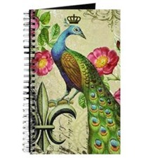 Vintage French peacock and floral collage Journal