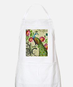 Vintage French peacock and floral collage Apron