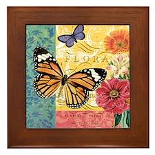 Modern vintage French butterfly and fl Framed Tile