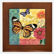 Modern vintage French butterfly and fl Framed Tile