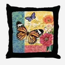 Modern vintage French butterfly and f Throw Pillow