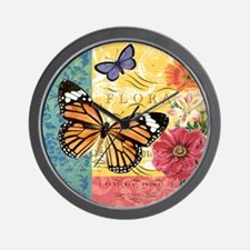 Modern vintage French butterfly and flo Wall Clock