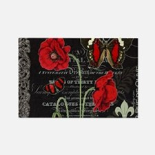 Vintage French red poppies collag Rectangle Magnet