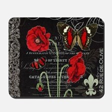 Vintage French red poppies collage Mousepad