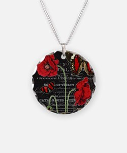 Vintage French red poppies c Necklace