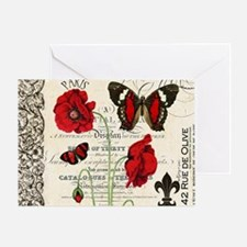 Vintage French red poppies collage Greeting Card