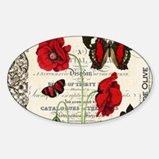 Vintage French red poppies collage Decal