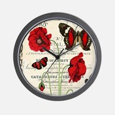 Vintage French red poppies collage Wall Clock