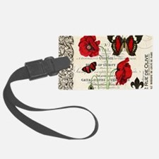 Vintage French red poppies colla Luggage Tag