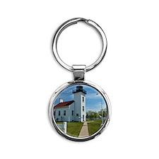 Sand Point Lighthouse Round Keychain