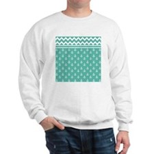 Anchors Chevrons Sq W Med Teal Sweatshirt