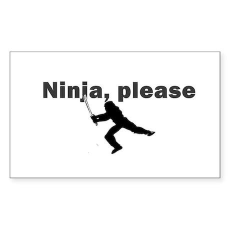 Ninja, please Rectangle Sticker