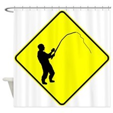Fisherman Crossing Sign Shower Curtain