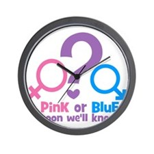 Gender Pink or Blue Wel  Soon Know Wall Clock