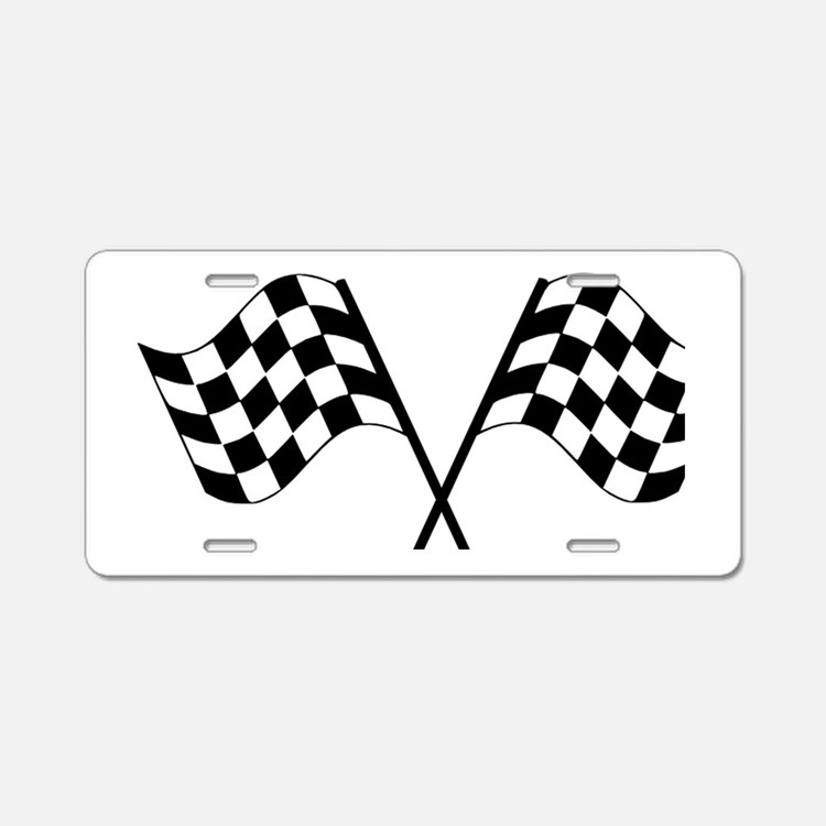 Checked Flags Aluminum License Plate