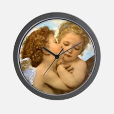 Vintage Victorian Angels, First Kiss by Wall Clock