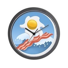 surf-bacon-egg-T Wall Clock