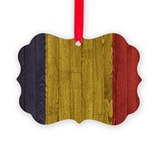 Hardwood floor Romanian Flag oval Ornament