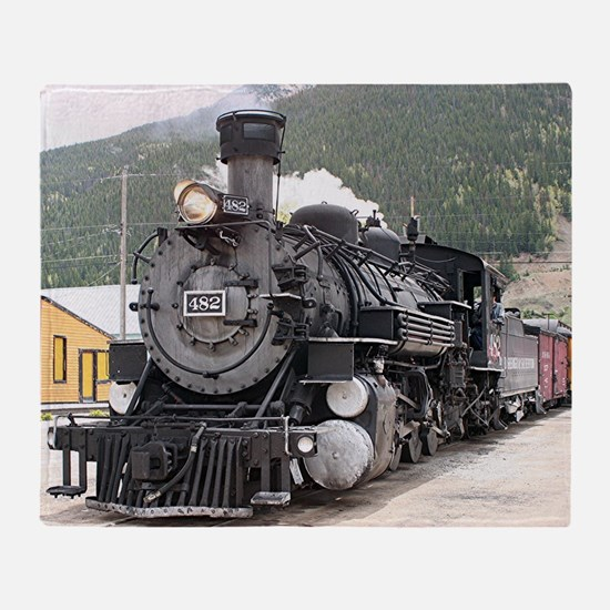 Steam train engine Silverton, Colora Throw Blanket