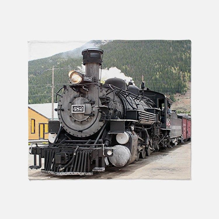 Steam train engine Silverton, Colora Throw Blanket