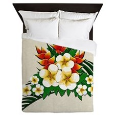 Stylized Hawaiian Ginger and Plumeria Queen Duvet