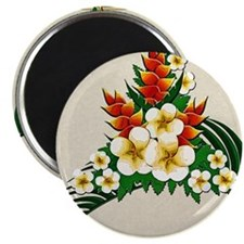Stylized Hawaiian Ginger and Plumeria Magnet