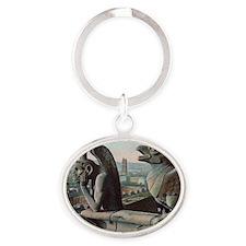Gargoyles of Notre Dame Oval Keychain