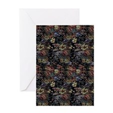 Blue Floral Tapestry Greeting Card