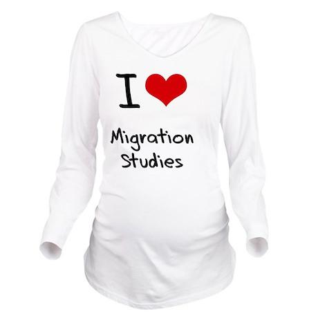 I Love MIGRATION STU Long Sleeve Maternity T-Shirt