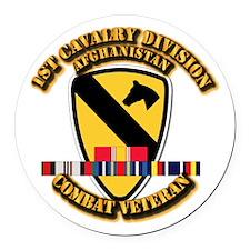 Army - 1st Cav Div w Afghan Svc Round Car Magnet