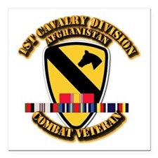 Army - 1st Cav Div w Afghan Svc Square Car Magnet