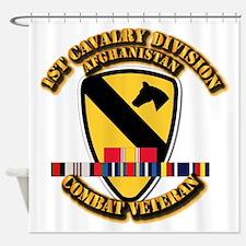 Army - 1st Cav Div w Afghan Svc Shower Curtain