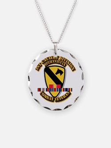 Army - 1st Cav Div w Afghan Svc Necklace