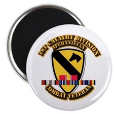 "Army - 1st Cav Div w Afghan Svc 2.25"" Magnet (100"