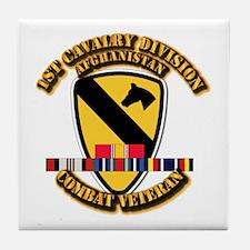 Army - 1st Cav Div w Afghan Svc Tile Coaster